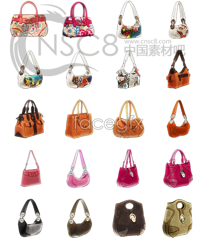 Elegant ladies shoulder bag series icons