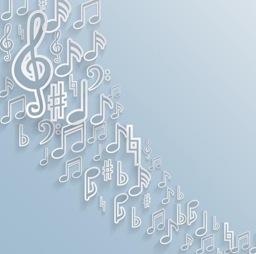 Elegant music note background vector set 01 free