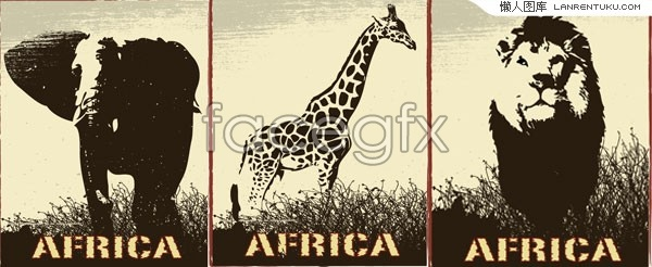 Elephant lion giraffe 3 wildlife vector