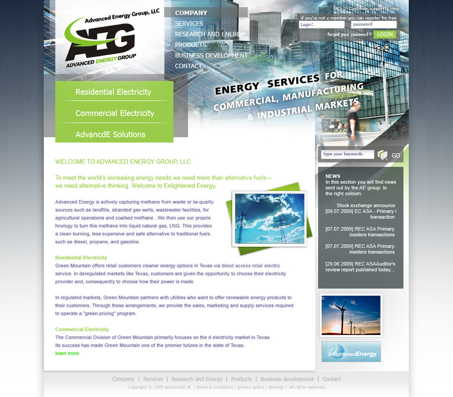 Energy company website psd