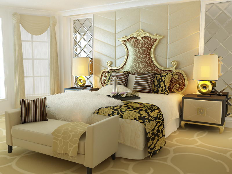 . European aristocracy bed 3d model  including materials    Over
