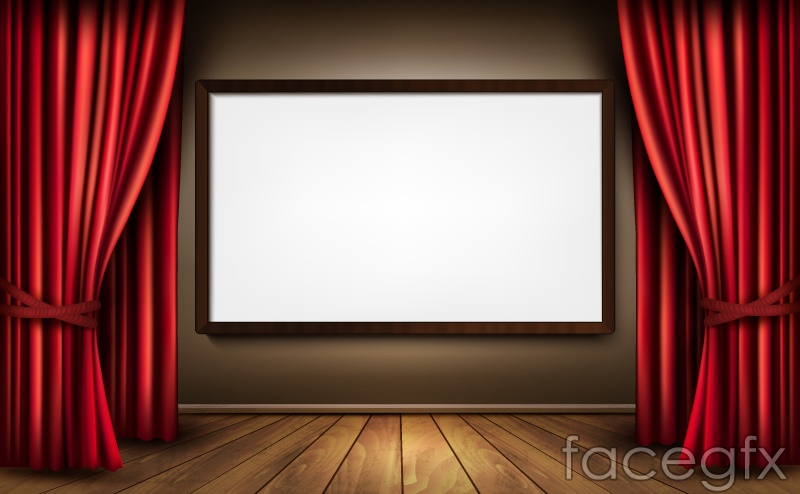 Exhibition Of Exquisite Curtain Box Background Vector Over