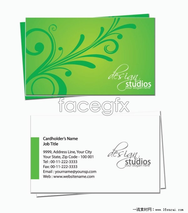 Exquisite green business card template vector