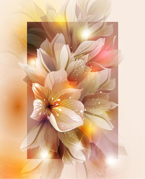 Fantasy flowers shiny vector background 04 free