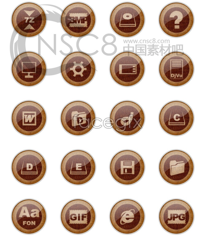 Fashion! Wood-grain buttons icon