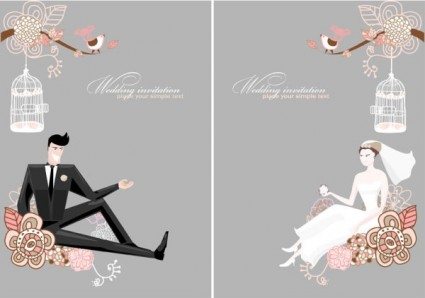 fine line of wedding background draft 01 vector
