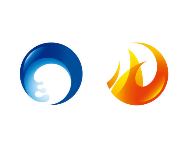 Fire and round icons