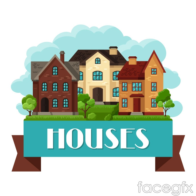 Flat housing with ribbon vector – Over millions vectors