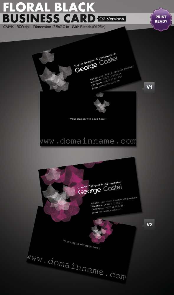 Floral Black Business Card
