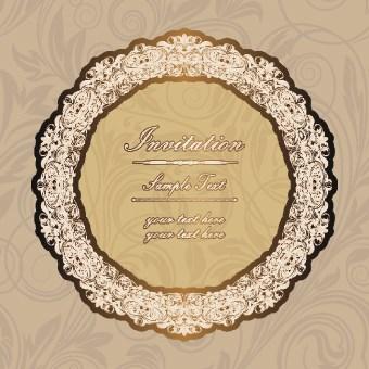 Floral frame Invitation vector 01