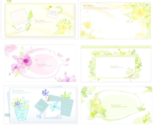 Floral photo frame vector graphics