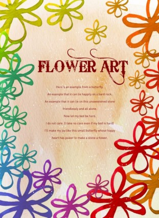 flower art watercolor pattern background psd layered 4