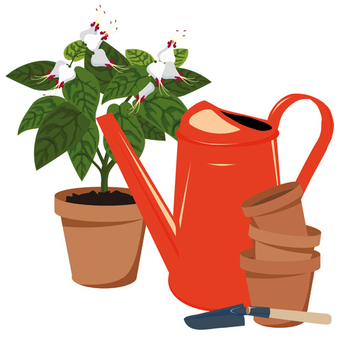 Flowerpot and flower vector set 03 free