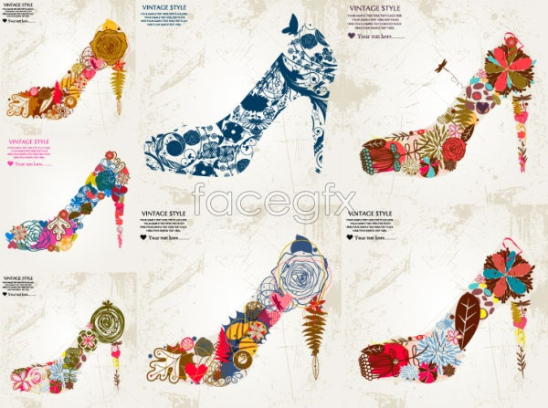 Flowers composed of high heels Vector
