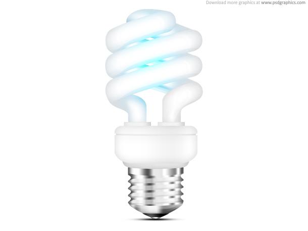 Fluorescent light bulb icon (PSD)
