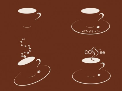 four cups of coffee silhouette vector