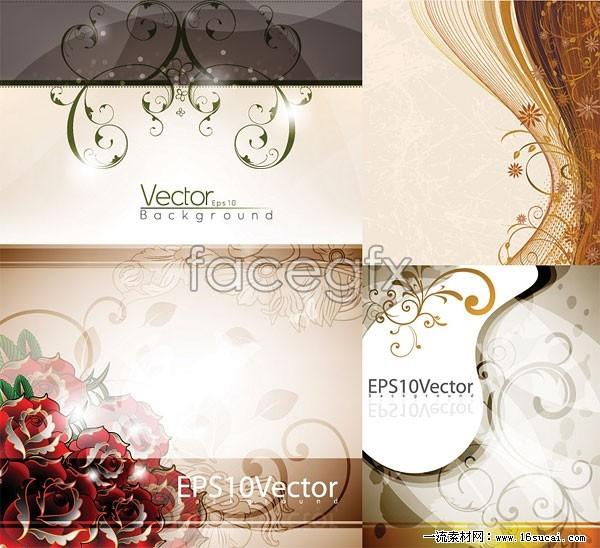 Four elegant flower background vector