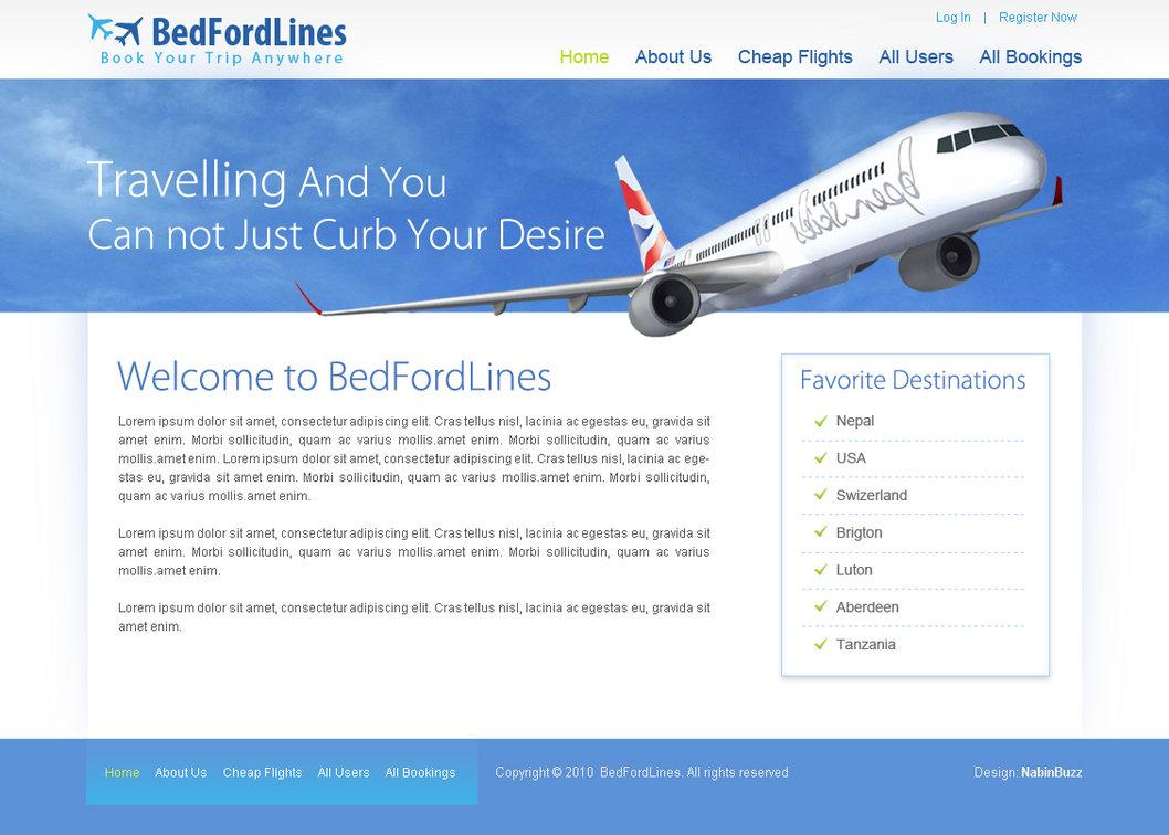 Free PSD HTML Flight Booking