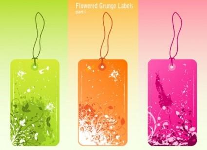 Free Vector Flowered Grunge Labels