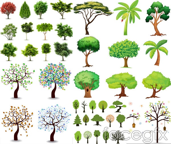 Freehand tree vector