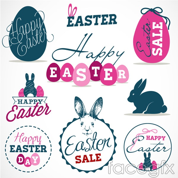 Fresh Easter tags vector