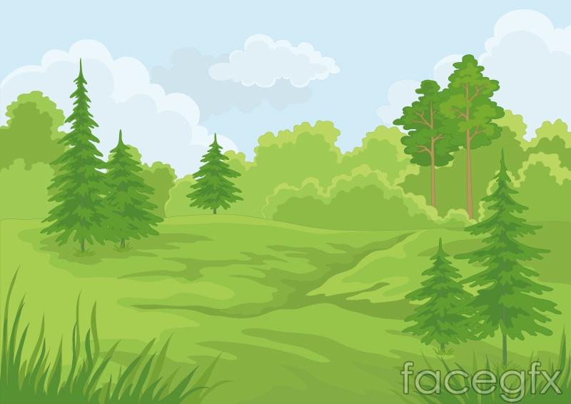 Fresh Forest Landscape Vector Over Millions Vectors