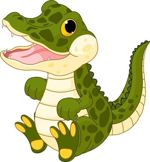 Funny cartoon baby crocodile vector free