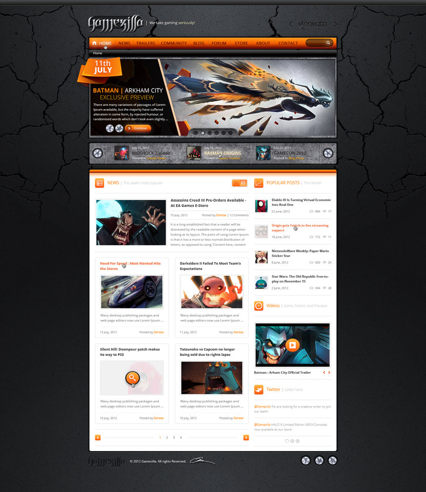Gamezilla – Home page (Orange)