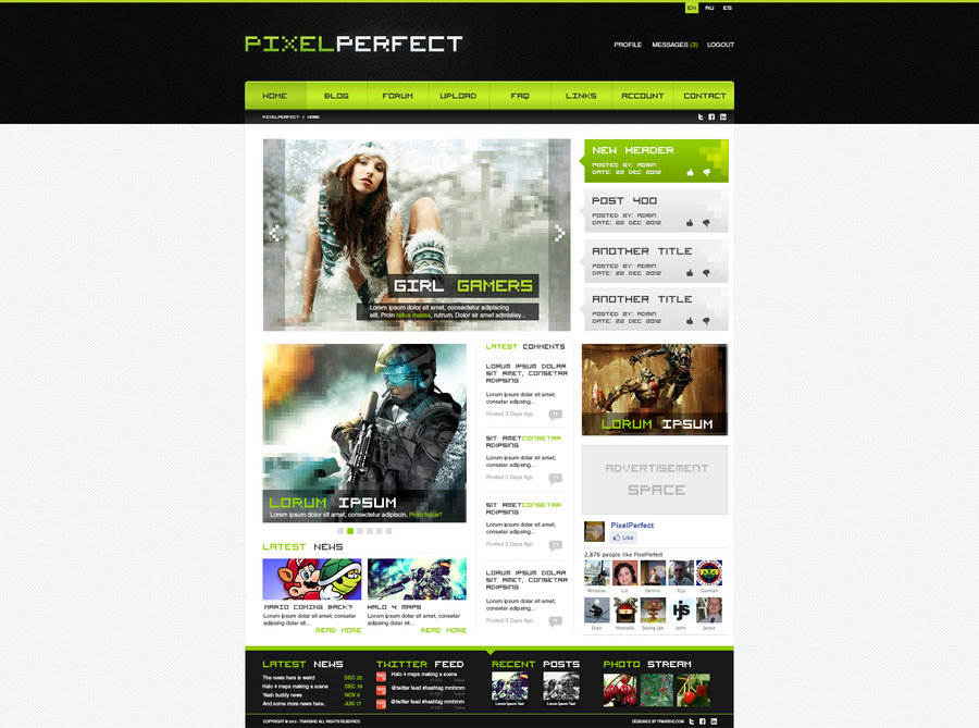 Gaming Website Design – PixelPerfect