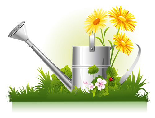 Garden watering design vector graphics 01 free over for Garden design graphics