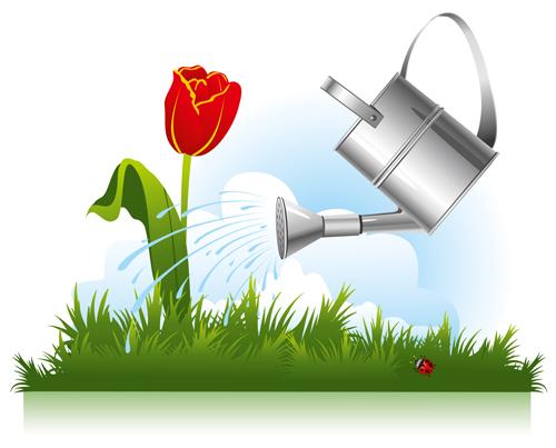 Garden watering design vector graphics 03 free
