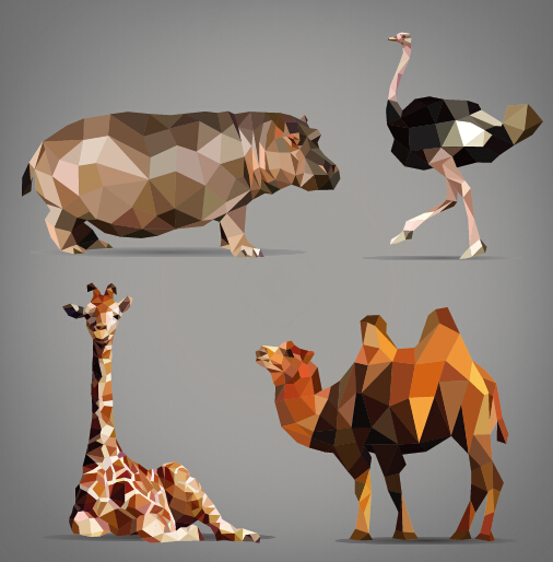 Geometric shapes wild animals vector graphics 05 free