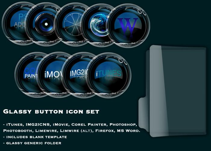 Glassy Button Icon set