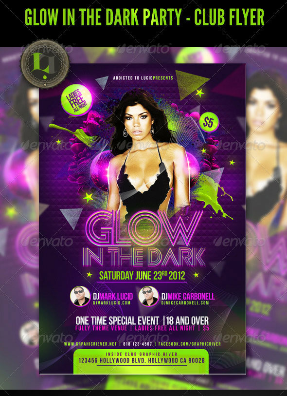 Glow in the Dark Party – Club Flyer