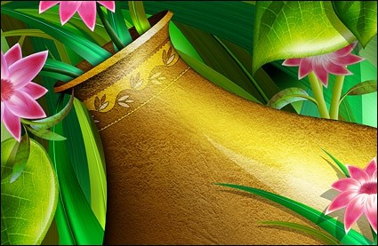 golden vase with flowers layered psd