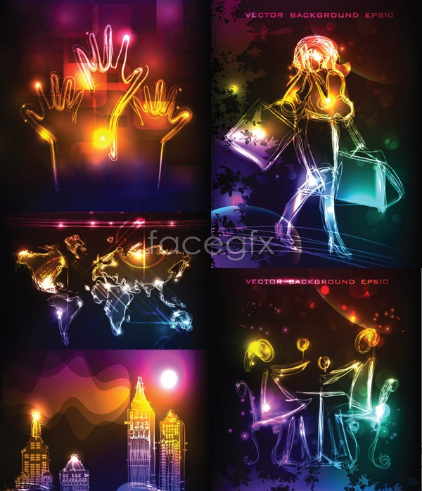 Gorgeous backdrop of neon lights Vector