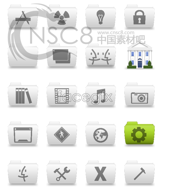 Gray folders desktop icons