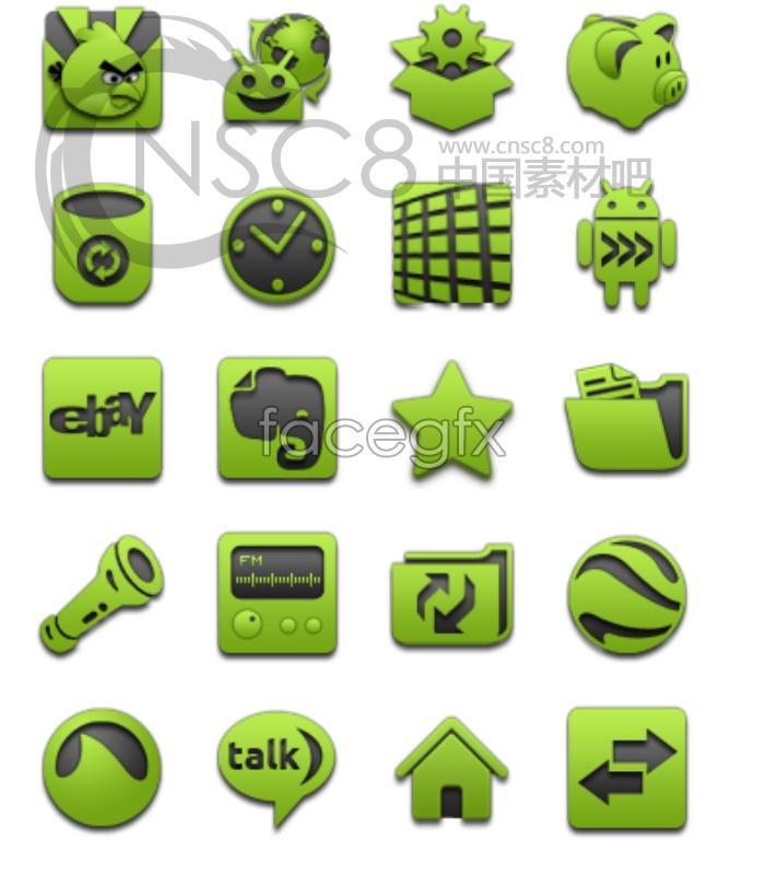 Green design desktop icons