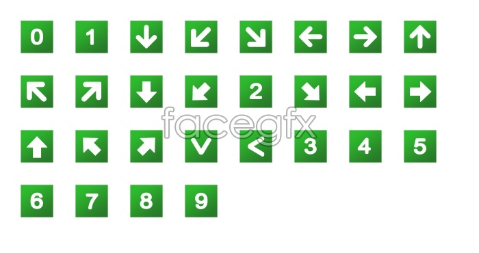 Green digital arrow icons