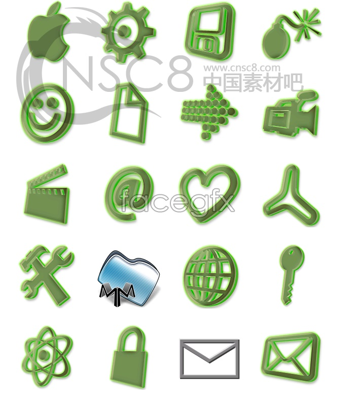 Green fairy light system icons