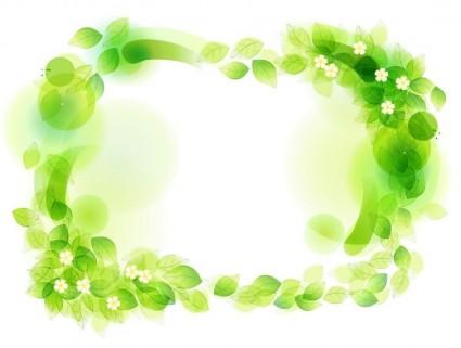 Green Floral Frame Vector Illustration