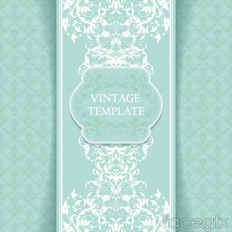 Green patterned card vector