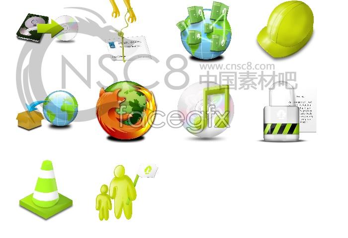 Green tools desktop icons