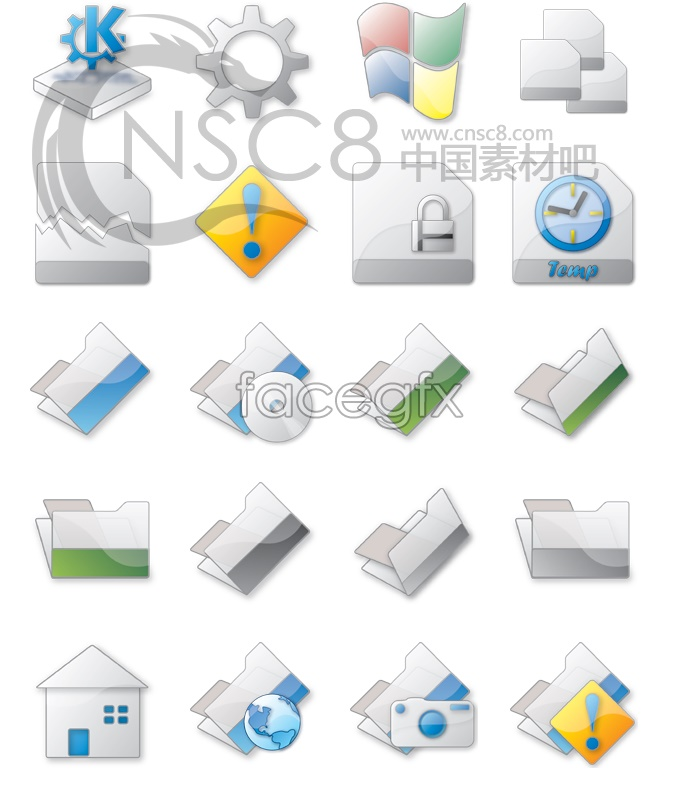 Grey Crystal modulation system icons