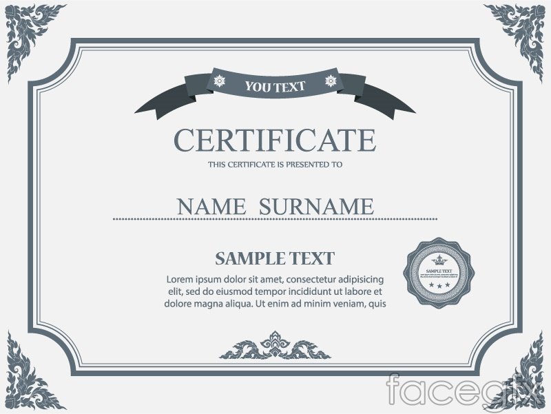 Certificate template vector set image collections for The request contains no certificate template information