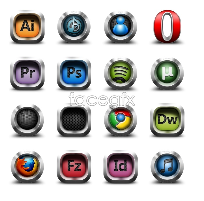 Grey system standard software icons
