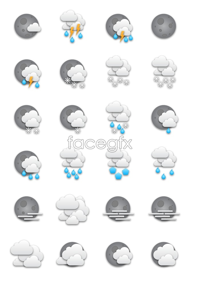 Grey weather forecast icons
