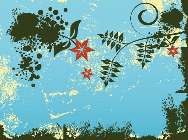Grunge Spring Design vector free