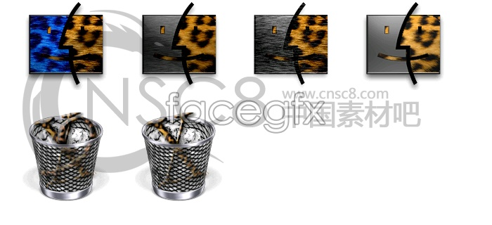 Half face Leopard icons