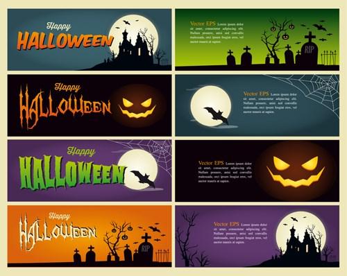 Halloween night banner vector set 02 over millions vectors stock halloween night banner vector set 02 maxwellsz